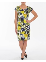 Navy And Lime Scuba Dress