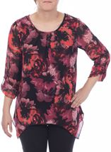 All Over Floral Dip Hem Top