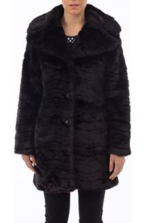 Wave Faux Fur Coat - Black