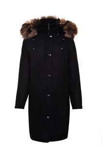 Anna Rose Suedette Parka - Ebony
