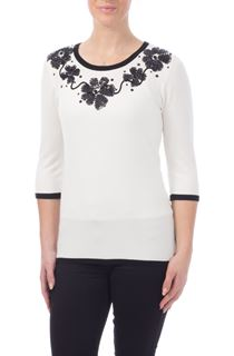 Anna Rose Floral Sequin Knit Top - Ivory