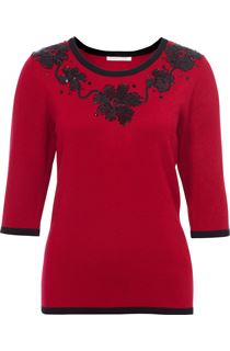 Anna Rose Floral Sequin Knit Top - Red