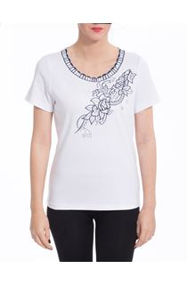 Anna Rose Embroidered T Shirt - White