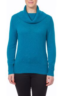Cowl Neck Nep Jumper - Teal