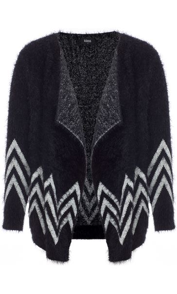 Eyelash Knit Chevron Cardigan