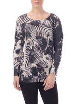 Embellished Zebra Knit Top
