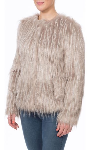 Faux Fur Collarless Coat