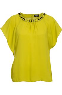 Beaded Neck Top - Lime