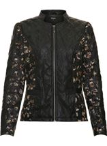 Floral And Faux Leather Jacket