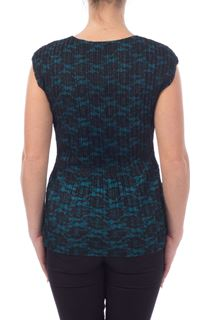 Lace Overlay Top - Teal/Black