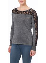 Lace And Shimmer Knit Top