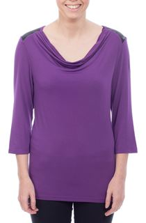 Cowl Neck Jersey Top - Purple