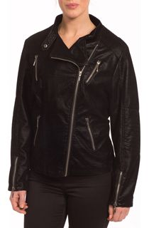 Suedette Biker Jacket - Black