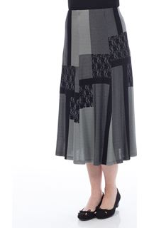 Anna Rose Patchwork Skirt - Black