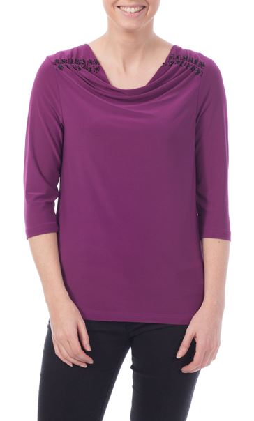 Anna Rose Embellished Cowl Neck Top