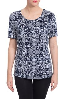 Anna Rose Printed Pleat Top - Blue