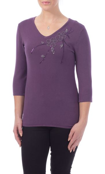 Anna Rose Beaded Knit Top