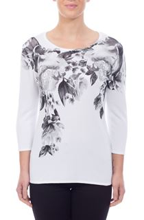Anna Rose Placement Print Knit Top