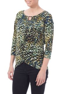 Printed Twist Front Top