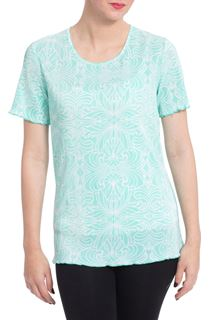 Anna Rose Print Pleat Top - Green