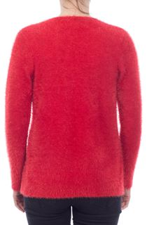 Feather Knit Cardigan - Red