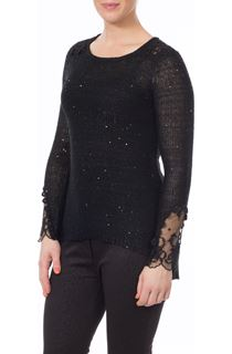 Crochet Knit Top - Black