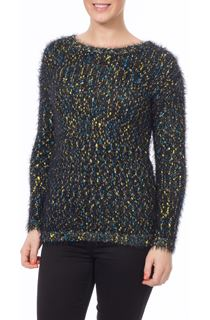 Eyelash Knit Top - Black/Teal/Yellow