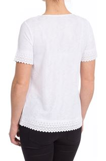 Anna Rose Laser Cut Top - White