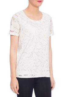 Anna Rose Burn Out Leaf Top - White