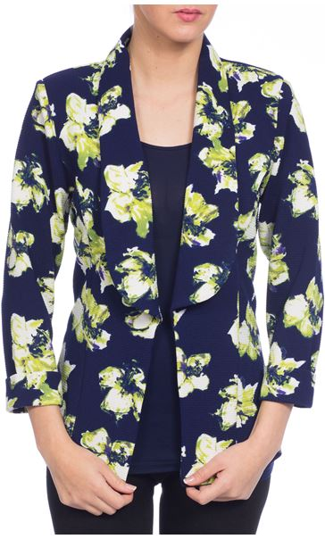 Textured Floral Open Jacket