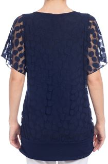 Mesh Overlay Top - Blue