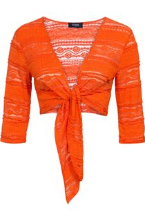 Lace Tie Cover Up - Tangerine