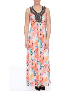 Embellished Watercolour Maxi Dress