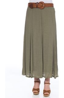 Crinkle Maxi Skirt - Light Khaki