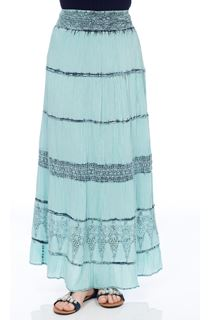 Ice Washed Cotton Maxi Skirt