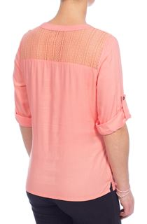 Anna Rose Lace Trim Top - Orange