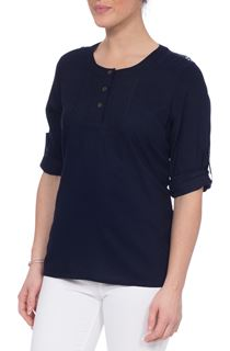 Anna Rose Lace Trim Top - Navy