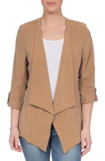 Drape Front Jacket - Brown
