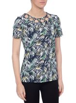 Anna Rose Leaf Print Top