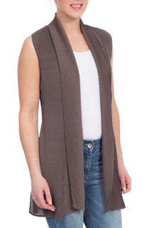 Longline Pleated Gilet - Mink