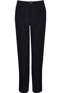 Linen Blend Trousers - Black