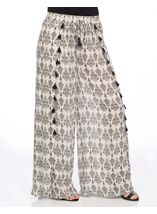 Wide Leg Printed Tassel Trousers