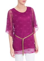 Double Layer Love Heart Belted Top