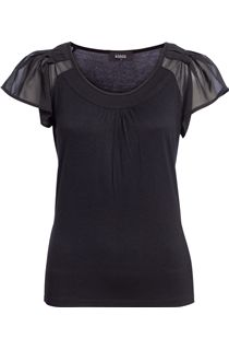 Georgette Sleeve Round Neck Jersey Top