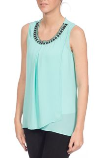 Cross Over Embellished Top - Green