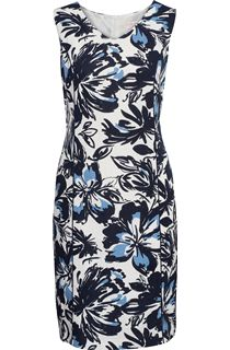 Anna Rose Linen Blend Print Dress