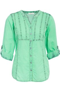 Anna Rose Ice Washed Turn Up Sleeve Blouse