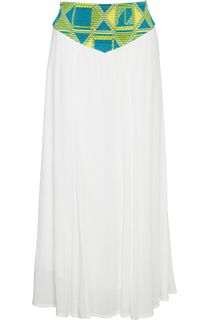 Embroidered Waist Maxi Crepe Skirt