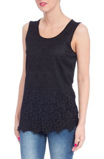 Weave Trim Top - Black