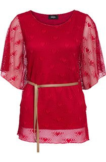 Double Layer Love Heart Belted Top - Ruby